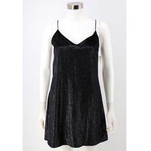 Topshop NEW Black Glitter Velvet Mini Slip Dress